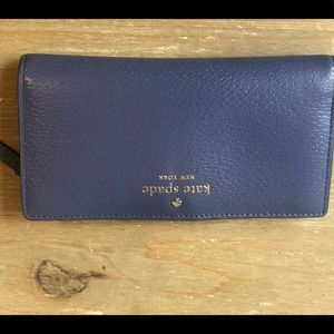 Kate Spade - Like new textured blue leather wallet